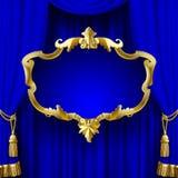 Błękitna zasłona z dekoracyjną złocistą barok ramą royalty ilustracja