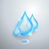 Błękitne błyszczące wod krople Obrazy Royalty Free