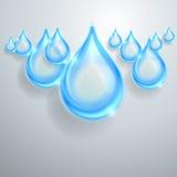 Błękitne błyszczące wod krople Obraz Royalty Free