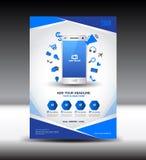 Błękitne biznesowe broszurki ulotki projekta układu magazynu reklamy, wisząca ozdoba ja royalty ilustracja