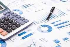 Błękitne biznesowe mapy, wykresy, informacja i raporty, zdjęcia royalty free