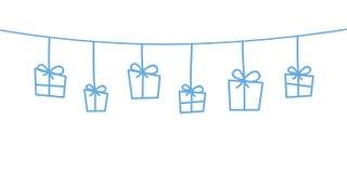 Błękitne boże narodzenie dekoracje wiesza białego tło ilustracji