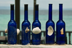 Błękitne dekoracyjne butelki Zdjęcie Stock