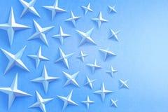 Błękitne gwiazdy na błękitnym tle fotografia royalty free
