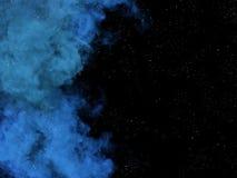 Błękitne gwiazdy w przestrzeni i mgławica ilustracja wektor