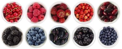 Błękitne i czerwone jagody odizolowywać na białym tle Kolaż różne owoc i jagody Czarna jagoda, czernica, morwa, zdjęcie royalty free