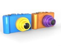 Błękitne i pomarańczowe ścisłe cyfrowe fotografii kamery zdjęcia stock