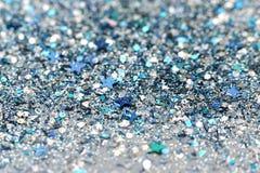 Błękitne i Srebne Marznąć Śnieżne zimy lśnienia gwiazdy Połyskują tło Wakacje, boże narodzenia, nowego roku abstrakta tekstura zdjęcie royalty free