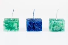 Błękitne i Zielone świeczki Obrazy Royalty Free