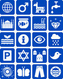 Błękitne ikony Fotografia Royalty Free
