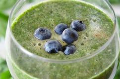 Błękitne jagody na zielonym koktajlu Zdjęcia Royalty Free