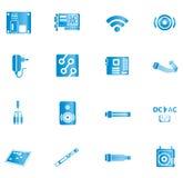 Błękitne komputerowe ikony Obrazy Royalty Free