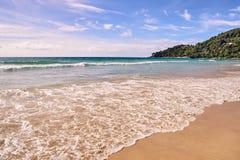 błękitne niebo naturalne tekstury grafiki projektu fale morskie zielone drzewa Jaskrawy piasek Obraz Royalty Free