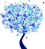 Błękitne płatek śniegu zimy drzewa ilustracje Obrazy Stock