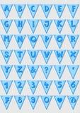 Błękitne pasiaste liczby i listy zaznaczają abecadło set Obrazy Stock