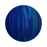 Błękitne pasiaste linie w technologii pojęciu deseniowa tekstura na piłce lub sfera kształcie odizolowywających na białym tle Egz ilustracja wektor