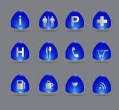 Błękitne podróży ikony Fotografia Royalty Free