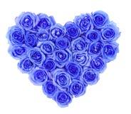 Błękitne róże w kierowym kształcie odizolowywali odosobnionego na bielu obraz royalty free