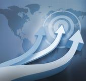 Błękitne strzała wskazuje up z światową mapą ilustracji