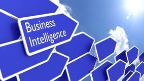 Błękitne strzała z słowo business intelligence Obrazy Stock