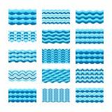 Błękitne wody falowego wektoru płytki ustawiają dla bezszwowych wzorów i tekstur ilustracja wektor