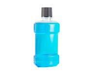 Błękitne wody mouthwash odizolowywa Fotografia Royalty Free