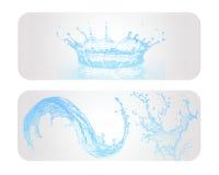 Błękitne Wody pluśnięcia sztandar Ilustracji
