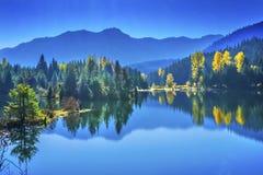 Błękitne Wody Yewllow drzew jesieni Snoqualme przepustki Złocisty Jeziorny domycie Obraz Stock