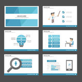 Błękitnego biznesmena Infographic elementów ikony prezentaci szablonu płaski projekt ustawia dla reklamowej marketingowej broszur Zdjęcia Royalty Free