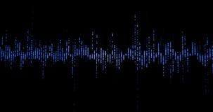 Błękitnego cyfrowego wyrównywacza audio rozsądne fala na czarnym tle, stereo efekta dźwiękowego sygnał z pionowo liniami z alfą,  royalty ilustracja