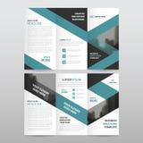 Błękitnego czerni trójboka ulotki broszurki ulotki raportu biznesowego trifold szablonu projekta wektorowy minimalny płaski set,  ilustracji