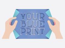 Błękitnego druku stylu szablon Zdjęcia Royalty Free