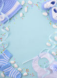Błękitnego dziecka prysznic pepiniery tło obrazy stock