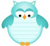 Błękitnego dziecka sowa z etykietką Obrazy Stock