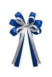 Błękitnego faborku łęk odizolowywający na białym tle Fotografia Royalty Free