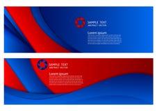 Błękitnego i czerwonego koloru geometryczny abstrakcjonistyczny tło z kopii przestrzenią, Wektorowa ilustracja dla sztandaru twój Obrazy Royalty Free