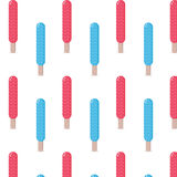 Błękitnego i czerwonego koloru lody kija bezszwowy deseniowy tło Zdjęcia Stock