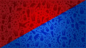 Błękitnego i Czerwonego tła światowa futbolowa filiżanka 2018 Rosja Zdjęcie Stock