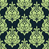 Błękitnego i zielonego rocznika kwiecisty bezszwowy wzór Obraz Royalty Free