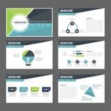 Błękitnego i zielonego wielocelowego broszurki ulotki ulotki strony internetowej szablonu płaski projekt Obraz Royalty Free