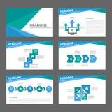 Błękitnego i zielonego wielocelowego broszurki ulotki ulotki strony internetowej szablonu płaski projekt Obraz Stock