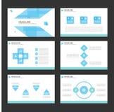 Błękitnego Infographic elementów ikony prezentaci szablonu płaski projekt ustawia dla reklamowej marketingowej broszurki ulotki Zdjęcie Royalty Free