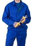 Błękitnego kołnierza pracownik. Obrazy Royalty Free