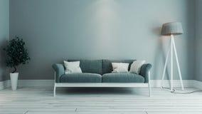 Błękitnego koloru wewnętrznego projekta żywy izbowy pomysł Fotografia Stock