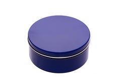 Błękitnego metalu round pudełko Obraz Royalty Free