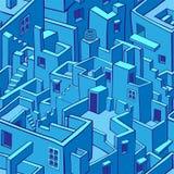 Błękitnego miasta bezszwowy wzór Obrazy Stock
