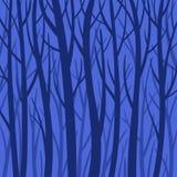 Błękitnego mistycznego tła lasowa wektorowa płaska ilustracja Drzewo sylwetka ilustracji