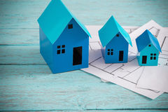 Błękitnego papieru domy Fotografia Royalty Free