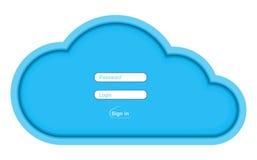 Błękitnego papieru wektoru chmura z polami dla wchodzić do nazwę użytkownika i hasło Obraz Royalty Free