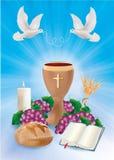 Błękitnego tła pojęcia chrześcijańscy symbole z drewnianego chalice biblii winogron świeczki chlebową gołąbką ilustracja wektor